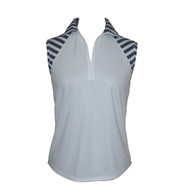 Sleeveless Top in White With Stripes