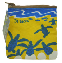 A hand screen printed coin purse with turtle hatchlings.