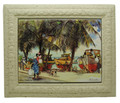 A framed tile with a painting of fishing boats at Oistins in Barbados by Jill Walker