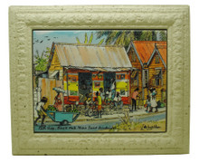 A framed tile with a painting of a rum shop in Barbados by Jill Walker