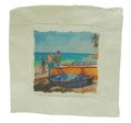 A linen cocktail napkin with a print of fishing boats by Jill Walker