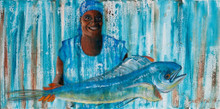 A Bajan fish vendor with a Dolphin fish.