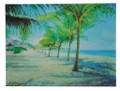 A tile with a painting of Dover Beach in Barbados by Jill Walker.