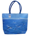 A canvas bag with a print called 'Flyingfish' by Holly Trew. Printed both sides. Plastic lined and with a zip.