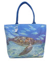 A canvas bag with a print called 'Turtle Harmony' by Sue Trew. Printed both sides. Plastic lined and with a zip.