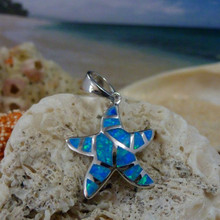 Starfish pendant made of sterling silver and blue opal.