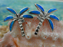 Palm earrings made of sterling silver and blue opal.