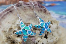 Starfish wire earrings made of stirling silver and blue opal.