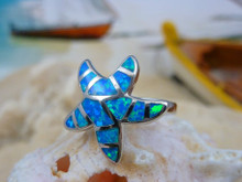 Starfish ring made of sterling silver and blue opal.