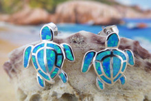 Turtle stud earrings made of stirling silver and blue opal.