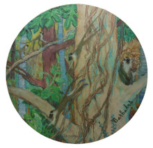Trivet or hot mat with Monkeys in a Gully design.
