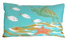 Hand screen printed turtle pillowcase.