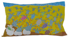 Hand screen printed hatchling pillowcase.
