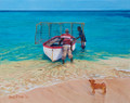 An oil painting of fishermen going fishpot fishing in Barbados by Sue Trew