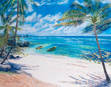 An oil painting of beautiful Martin's Bay in Barbados by Sue Trew