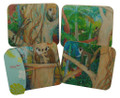 Set/4 coasters with Barbados Green monkeys