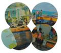 Set/4 coasters with Barbados scenes