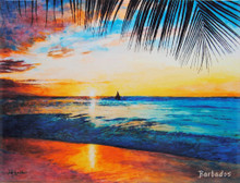 A tile with a painting of a sunset at Paynes Bay on the west coast of Barbados by Jill Walker.