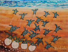 A tile with a painting of turtle hatchlings dashing to the sea at sunset in Barbados by Sue Trew