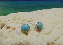 Larimar and silver stud earrings.