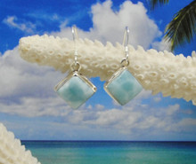 Larimar and silver drop earrings