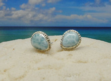 Larimar and silver stud earring with a twisted edge.