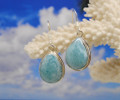 Larimar and silver tear drop earrings.