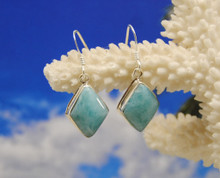 Larimar and silver drop earrings.