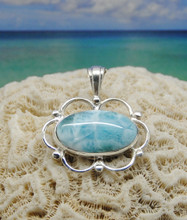 Larimar and silver pendant.