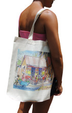 "A handy light weight cotton tote bag with a rum shop at Bank Hall in Barbados by artist Jill Walker. Printed on one side. Size"" 14.75""w x 16""h x 3""d"