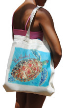 "A handy light weight cotton tote bag with turtle off the coast of Barbados by artist Sue Trew. Printed on one side. Size"" 14.75""w x 16""h x 3""d"