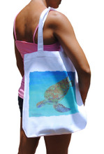 "A handy light weight cotton tote bag with a turtle diving by artist Jill Walker. Printed on one side. Size"" 14.75""w x 16""h x 3""d"