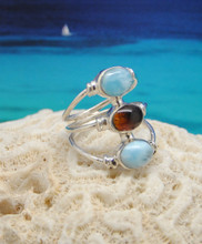 Larimar, amber and silver ring.