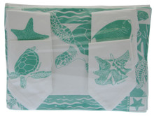 Assorted hand screen printed placemats with matching napkins, Set/4.