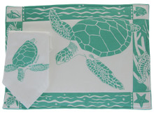 Hand screen printed placemat with matching napkin.