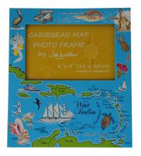 A Caribbean Map souvenir photo frame.