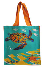 Strong canvas bag with turtle and starfish design.