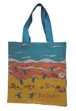 Strong canvas bag with shoreline design.
