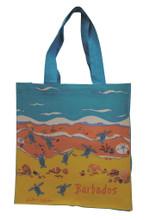 Strong canvas bag with shoreline design.