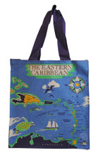 Strong canvas bag with Caribbean map design.