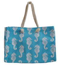 Blue jute bag with seahorses.