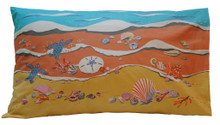 Hand screen printed Barbados Shoreline pillowcase.
