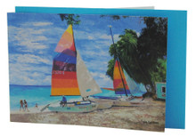 A beautiful card with catamarans by Jill Walker.