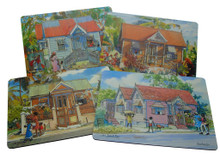 Set of 4 different placemats featuring paintings by Jill Walker.