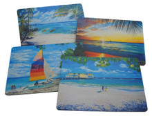 Set of 4 different placemats featuring paintings by Jill Walker and Sue Trew.