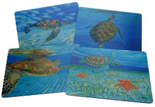 Set of 4 different placemats featuring paintings by Sue Trew.