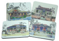 Set of 4 different coasters featuring paintings by Jill Walker.