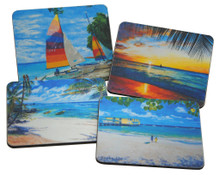 Set of 4 different coasters featuring paintings by Jill Walker and Sue Trew.