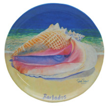 Small round dish with a queen conch design.
