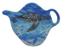 Teabag holder with turtle design.